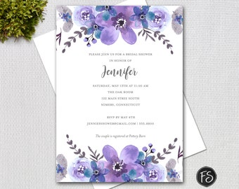 Purple flowers Bridal Shower Invitation, Watercolor Forget Me Not Wedding Shower, Printable Digital Invitation 31834