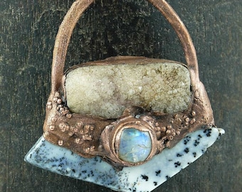 Dendritic Agate,Drusy and Moonstone, Copper Electroformed Pendant