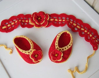 Baby booties, newborn headband, baby gift, red headband, booties knitting, headband, girl headband, red flower, ready to ship