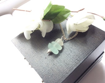 Blue sea glass necklace pendant seaham English seaglass stacking mermaids tears uk ocean beach silver  plated  925 sterling gift for her
