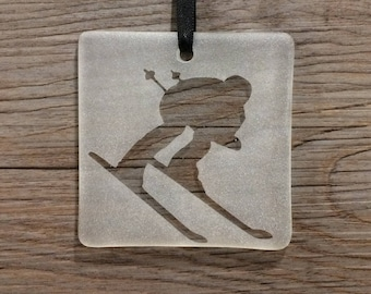 Skier Fused Glass Christmas Ornamemt/sun catcher; Skiing; Snow; Winter Sports