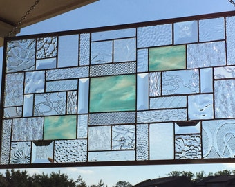 Sky Blue Wispy Heaven Stained Glass Panel with a Multitude of Bevels and Gorgeous Clear Patterned Glasses