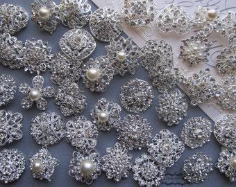 10-100 Brooch Lot Rhinestone Pearl Mixed Silver Pin Wholesale Crystal Wedding Brooch Bouquet Bridal Button Embellishment Hair Cake Shoe DIY