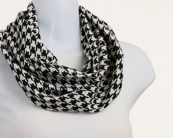 Silky Houndstooth Infinity Scarf Black and Gray Classic ~ SK140-S5