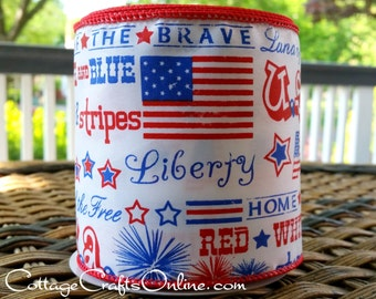 "Wired Ribbon, 4"", Patriotic Land of the Free Script Red, White and Blue - TEN YARD Roll - ""Liberty 4"" July 4th Wire Edged Ribbon"