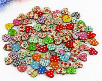10 buttons wooden heart in different colors for scrapbooking or sewing