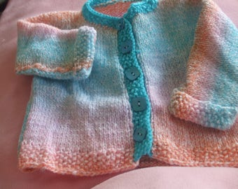 6-12 months Rainbow baby vest baby wool knitting hands