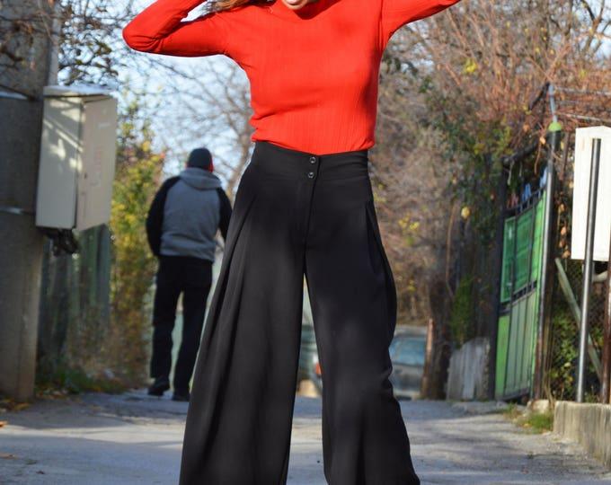 Women Plus Size Black Pants, Elegant Extravagant Trousers, Long Office Pants, Wide Leg Pants by SSDfashion