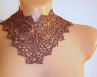 Fait à la main amovible marron Floral Robe col collier de bijoux de crochet dentelle Peter Pan victorien collier d'été mode femmes accessoires