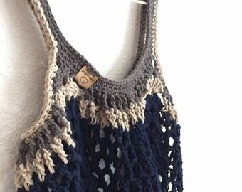 Boho Market Bag~Three Color Crochet Tote Bag~Reusable Shopping Bag~Beach Bag~Market Tote~Crocheted Grocery Bag~navy blue~grey~kraft brown