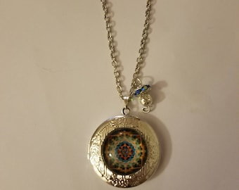 Handmade Spiral Pattern Locket Necklace and Charm