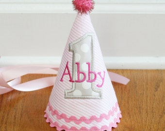 Girl 1st Birthday Hat - Pink and grey - Michael Miller stone ta dots fabric