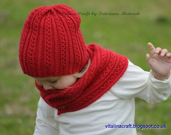 Knitting Pattern - Tiny Cables Hat and Scarf (Baby, Child, Adult sizes)