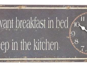 Metal Wall clock with - Breakfast in Bed slogan, vintage distressed design.