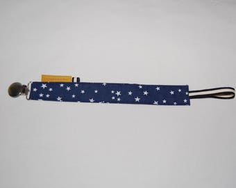 Pacifier clip personalized fabric blue, mustard yellow, Star, baby, child