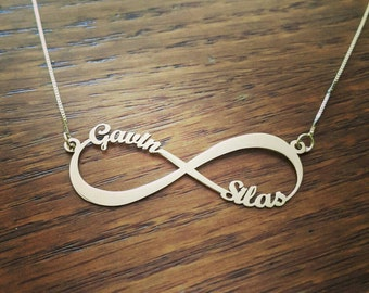 2 names 14k white gold Infinity Necklace /  personalized 14k gold Infinity name necklace /  Forever Symbol nameplate / Free shipping!