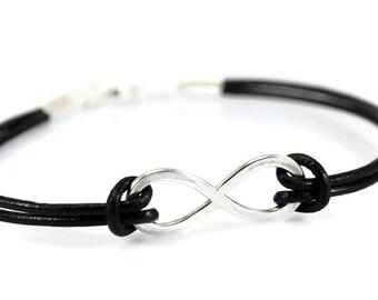 Sterling Silver Infinity Bracelet. Custom Bracelet. Leather Bracelet. Anniversary Gift. Womens Mens Bracelet. Gift For Him. Gift For Her
