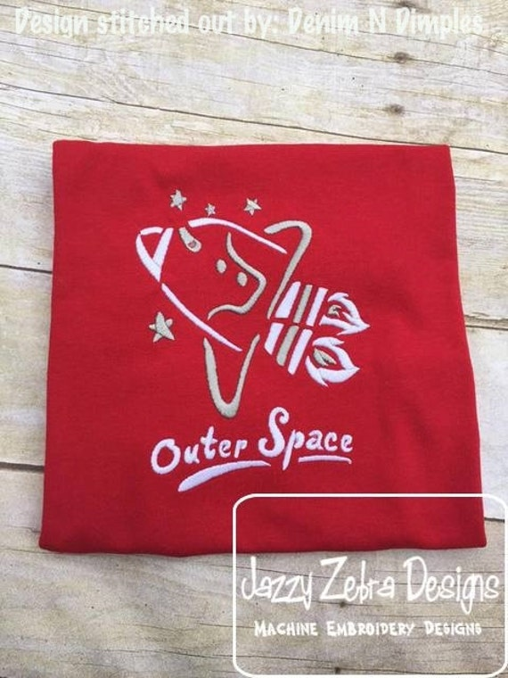 Outer Space Satin Stitch Outline Embroidery Design - space embroidery design - alien embroidery design - space ship embroidery design
