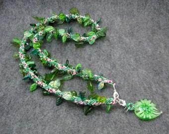 Beaded Wrap Bracelet Necklace - Intertwining Green Leaves by randomcreative on Etsy