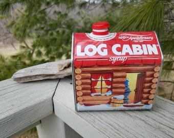 100th Anniversary Log Cabin Syrup Tin Vintage Home Decor