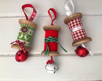 Christmas spool hanging decorations