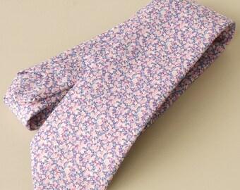 Liberty print tie - Pepper lilac - lilac tie - handstitched wedding tie - Liberty of London necktie - lilac necktie - Liberty Pepper
