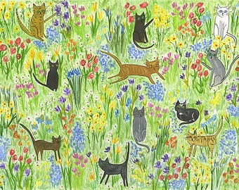 Meadow cats. Limited edition print by Vivienne Strauss.