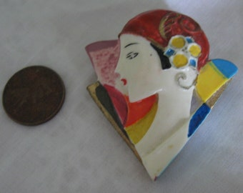 Colorful Hand Made Flapper Girl Brooch Pin