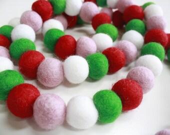 Christmas Garland - Pom Pom Garland - Felt Ball Christmas Garland - Holiday Mantle Decor - Red and Green Garland - Christmas Cookie