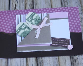 birthday card, handmade birthday, girl, birthday, origami, money card, butterfly birthday card, kapitol ideas