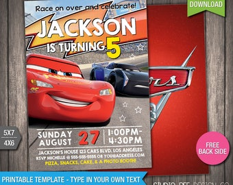 Cars 3 Invite - 50% OFF - INSTANT DOWNLOAD - Printable Disney Cars 3 Birthday Invitation - Lightning - DiY Personalize & Print - (CAin07)