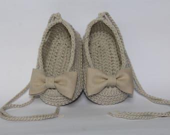 COTTON BALLERINA SHOES with linen loop