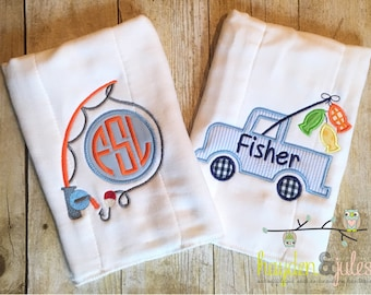 Fishing Burp Cloths - Personalized, Monogrammed, Applique