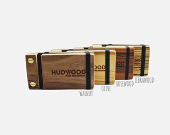 Wooden Business Card Holder Case - Personalized- Rosewood