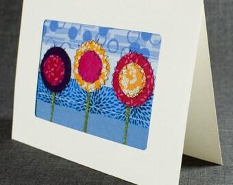 Fabric Card - Handmade Greeting Card - Quilt Card - Blank Greeting Card