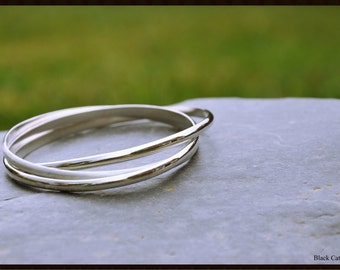 Triple Oval Bangle, Sterling Silver Bangle, Interlocking Bangle,