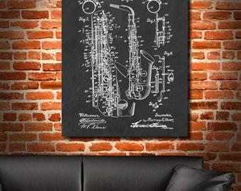 Retro 1915 Saxophone Vintage Art Print Poster or Canvas, Wall Art, Home Decor, Music, Sax Jazz Coltrane, Miles Davis, Musician Gift 267