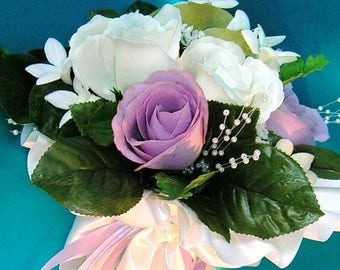 On Sale Bridal Bouquet With Ivory and Lilac Rose Buds, Stephanotis and Pearl Sprays