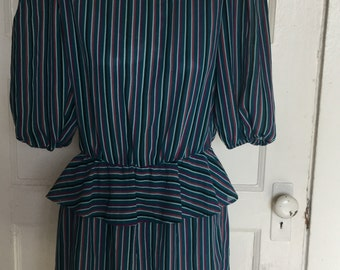 80's sheer striped dress