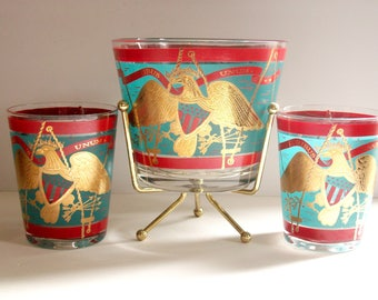 Vintage Cera Barware, Lowball Glasses & Ice Bucket, 9 piece set, E Pluribus Unum, Mad Men Cocktail Glasses, Mid Century Hollywood Regency