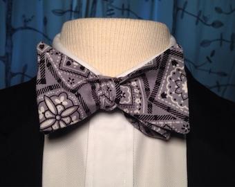 Grey Hanky Code- Self Tie Bow Tie