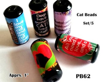 Cute Cat Saying Beads -  Handmade Paper Tube Beads - Set/5 Beads -  PB62