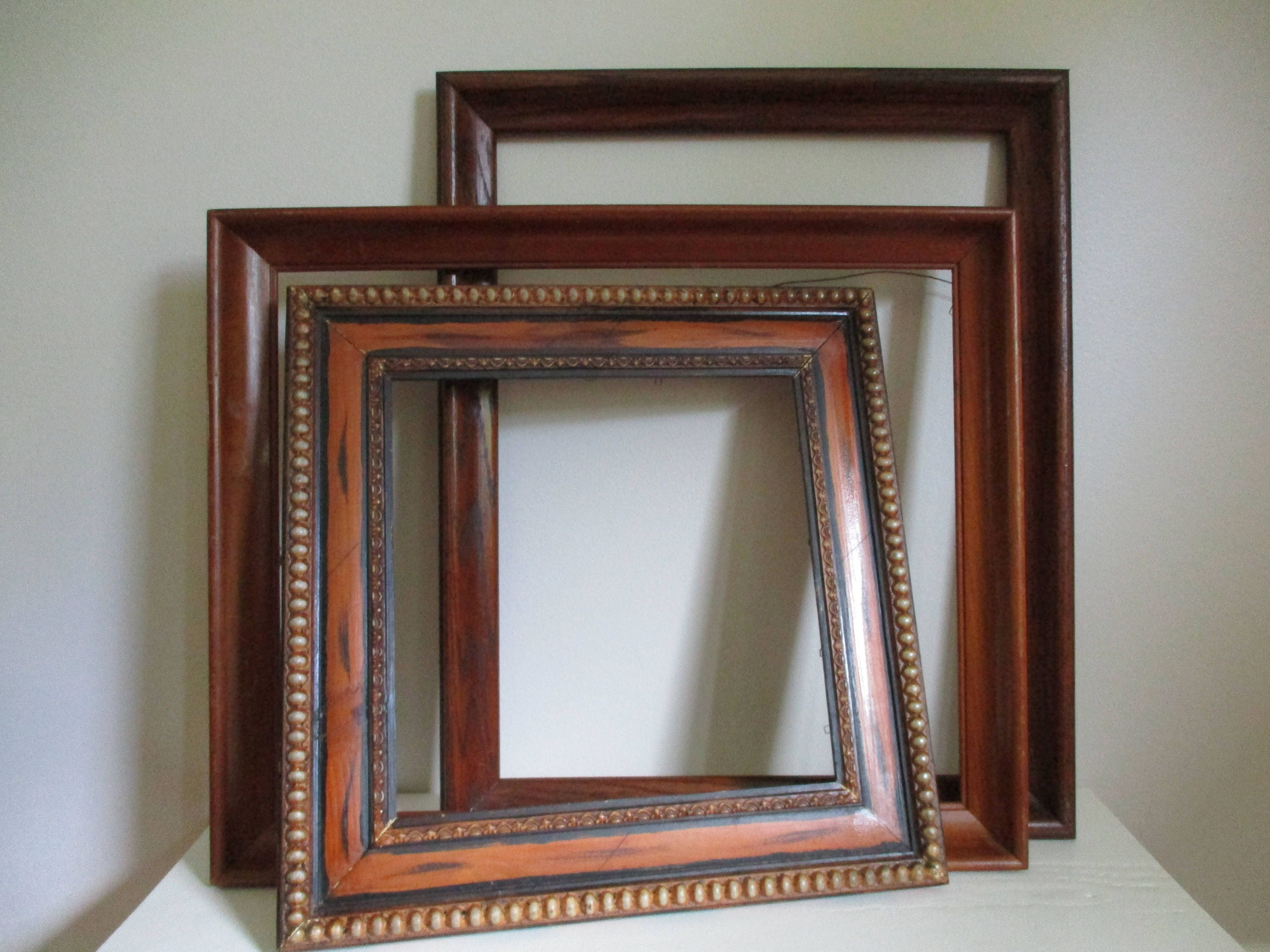 Lot Old Wood Frames, LARGE Vintage Wooden Ornate Maple,16\
