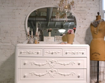 Painted Cottage Chic Shabby French Dresser and Mirror
