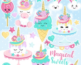 80% OFF SALE Unicorn clipart commercial use, unicorns sweets vector graphics, ice cream  digital clip art, unicorn digital images  - CL1159
