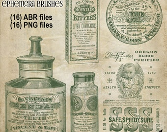 Vintage Medical Ephemera Brushes - Photoshop Brushes - Vintage Medical Advertising - Instant Download - Photoshop Elements Brushes