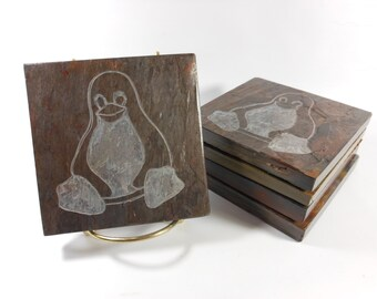 Penguin Coasters - Carved Slate Coasters for Drinks - Animal Coasters Nerdy Coasters Penguin Gifts Computer Geek Gifts, Computer Geek Decor