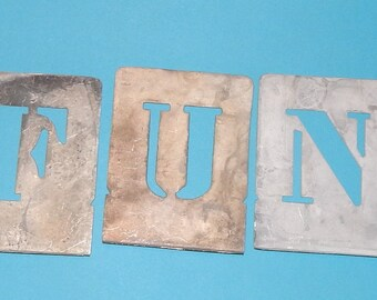 F U N metal Letter Stencils , Salvaged sign painters stencil tools , 3 Capital Letters