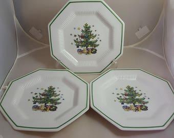 Nikko Classic Collection 3 Salad Plates Christmas