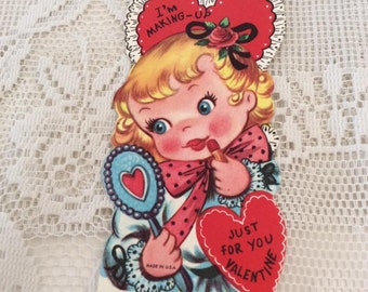 Vintage 1950s Valentine Card Little Girl Putting On Lipstick Collectible paper Ephemera Arts Crafts Scrap Booking